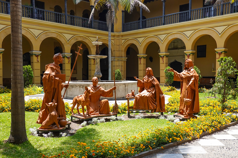 Statues in the Courtyard of the San Francisco Monastery, Lima, Peru.
