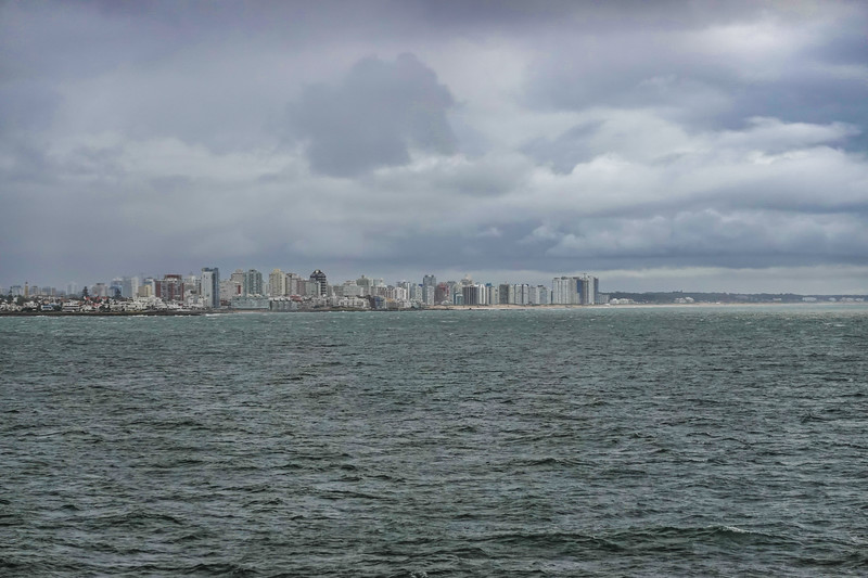 Punta Del Este, Uruguay, from the Oceania Marina. Shore excursions and tender operations for this day were cancelled due to high sea swells.