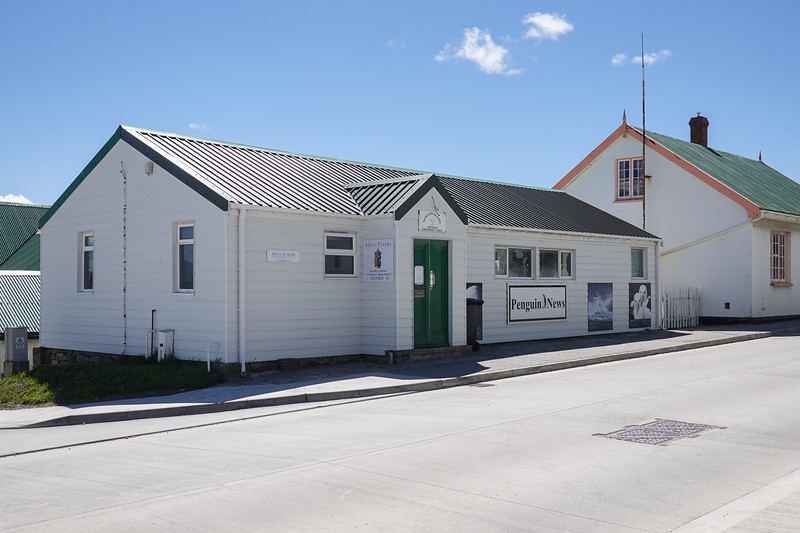 Penguin News Office, the local paper for the Falkland Islands, in Port Stanley, U.K.