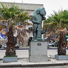 Inside the port within Montevideo, Uruguay, is this statue which is dedicated to the working men who built the city of Montevideo, Uruguay.