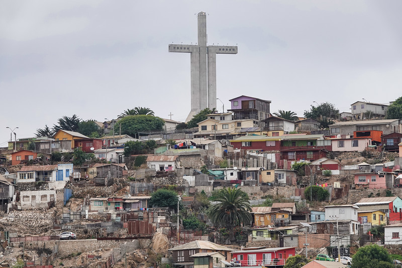 Close up of the Coquimbo, Chile, large cross above the town.