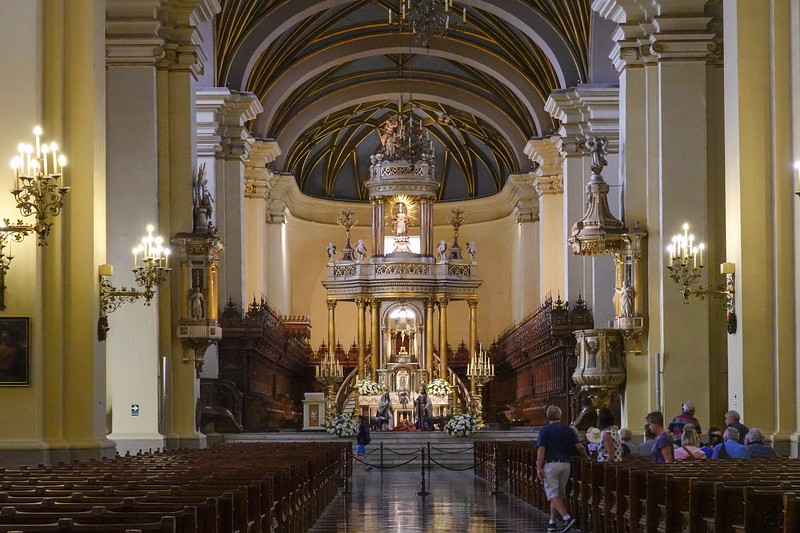 Inside the Lima Cathedral and near the resting place of Pizarro.