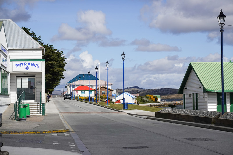 Streets of Port Stanley, Falkland Islands, on Christmas Day, December 25, 2019.