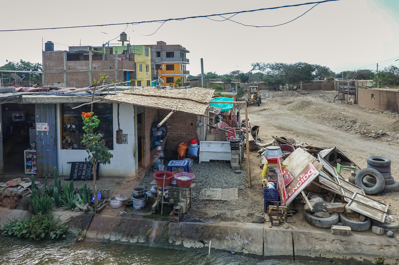 Peruvian neighborhood near the Temples of the Sun and Moon, Trujillo, Peru.