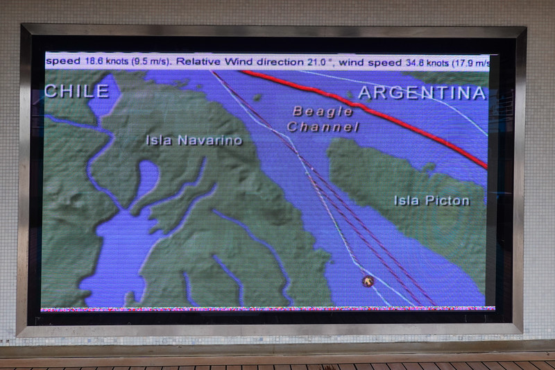 Cruising the Beagle Channel on the way to Glacier Alley, Chilean Fjords, Chile.