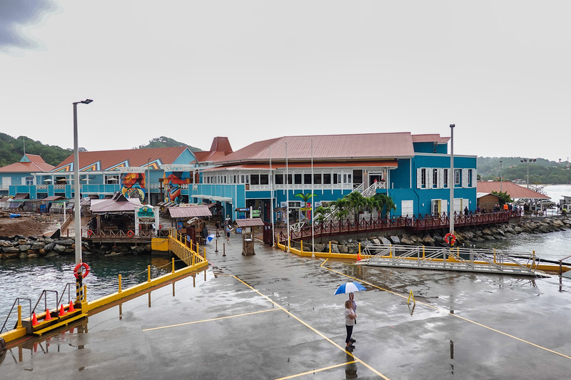 Tourist center directly ashore in Roatan, Honduras.