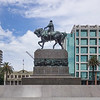 Memorial statue to revolutionary hero Jose Artigas located in Independence Square, Montevideo, Uruguay.