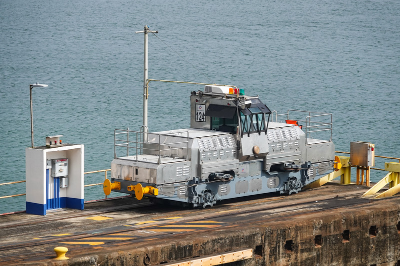 Passing a canal tug on our way out of the Panama Canal on the Atlantic side.
