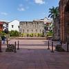 The still beautiful courtyard in the collapsing Church of Iglesia de la Compania de Jesus, in Panama City, Panama.