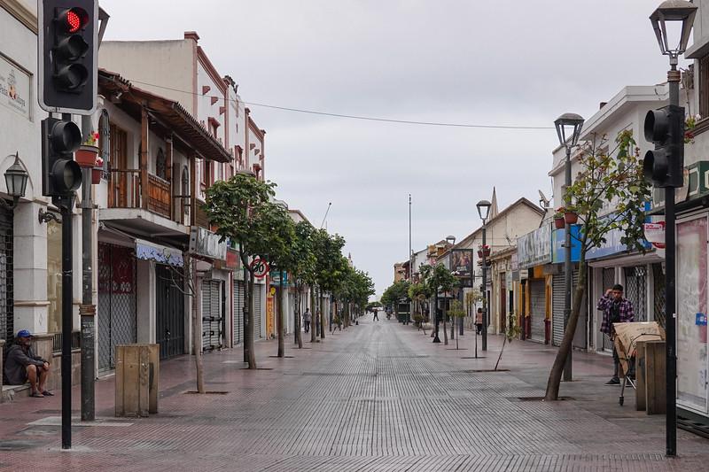 Street leading to the Church adjacent the La Recova Craft Market, in  La Serena, Chile.