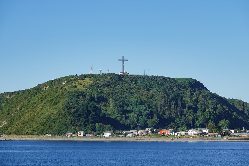 Giant cross overlooking the city and harbor in Puerto Montt, Chile.