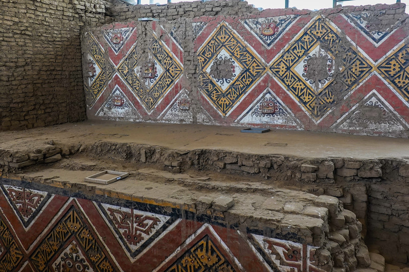 Decorative areas of the Temple of The Moon, Ancient City of Moche, outside Trujillo, Peru.