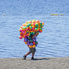 Beach ball seller, Puerto Varas, Chile.