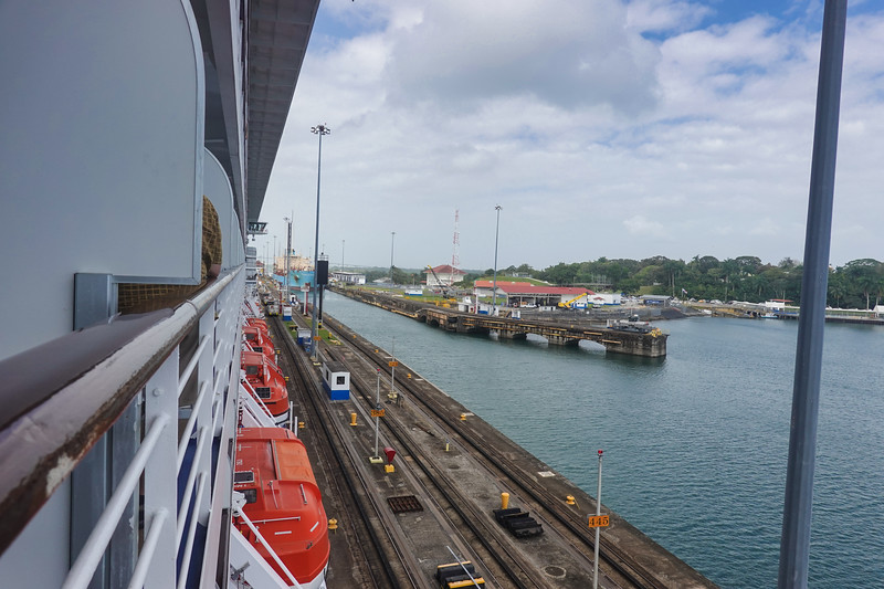 Entering the Panama Canal from the Pacific Ocean side.
