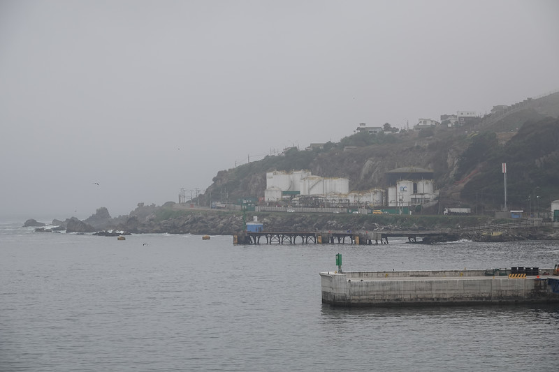 Arriving in Santiago, Chile, at Port San Antonio in rain and foggy weather.
