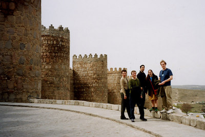 The gorup outside the towers of Avila - Avila, Spain ... March 2003 ... Photo by Rob Page III