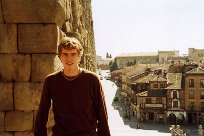 Rob and the aqueduct - Segovia, Spain ... March 2003