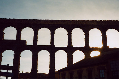 The Segovian aqueduct.  It is a UNESCO world heritage site - Segovia, Spain ... March 2003 ... Photo by Rob Page III