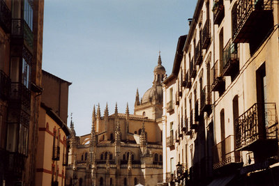 The Segovia Cathedral rises from the old streets of Segovia - Segovia, Spain ... March 2003 ... Photo by Rob Page III