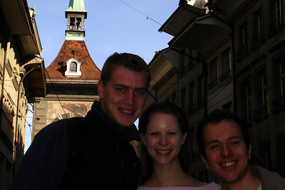 Rob, Emily, and Michael with the Zytglogge - Bern, Switzerland ... March 4, 2007 ... Photo by Rob Page III