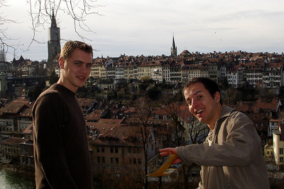 Rob and Michael with the Swiss capital in the backgorund - Bern, Switzerland ... March 4, 2007 ... Photo by Rob Page III