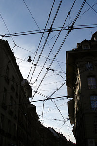 The tangle of tram wires - Bern, Switzerland ... March 4, 2007 ... Photo by Emily Conger
