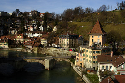 The Aare River winds it way through town - Bern, Switzerland ... March 4, 2007 ... Photo by Rob Page III