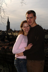Rob and Emily with the Swiss capital in the backgorund - Bern, Switzerland ... March 4, 2007 ... Photo by Michael Ruprecht