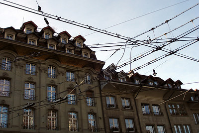 The tangle of tram lines above the streets of the Swiss capital - Bern, Switzerland ... March 4, 2007 ... Photo by Emily Conger
