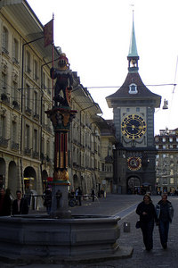 The Zahringen fountain with the Zytglogge rising in the background - Bern, Switzerland ... March 4, 2007 ... Photo by Rob Page III