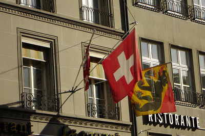 The Swiss and Bern flags - Bern, Switzerlnad ... March 4, 2007 ... Photo by Rob Page III