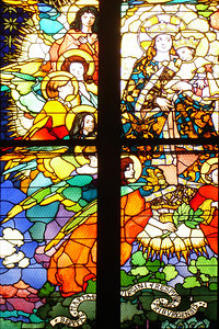 The stain glass of the Cathdrale de St Nicholas - Fribourg, Switzerland ... March 4, 2007 ... Photo by Rob Page III