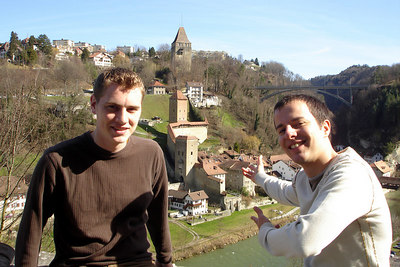 Michael showing his homeland of Switzerland - Fribourg, Switzerland ... March 4, 2007 ... Photo by Emily Conger