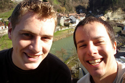 Rob and Michael with the town of Fribourg in the background - Fribourg, Switzerland ... March 4, 2007 ... Photo by Rob Page III