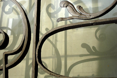 Iron lattice work - Fribourg, Switzerland ... March 4, 2007 ... Photo by Emily Conger