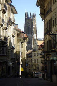 The Cathedrale de St Nicholas looms over the streets of Fribourg - Fribourg, Switzerland ... March 4, 2007 ... Photo by Rob Page III
