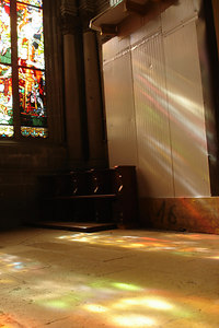 Stain Glass reflections - Fribourg, Switzerland ... March 4, 2007 ... Photo by Emily Conger
