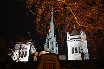 The Cathdrale de St Pierre rises above the old town at night - Geneva, Switzerland ... March 4, 2007 ... Photo by Rob Page III