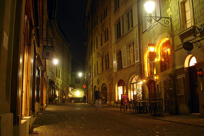The old town at night - Geneva, Switzerland ... March 4, 2007 ... Photo by Rob Page III