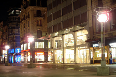 The Rue de Rhone at night without all its shoppers - Geneva, Switzerland ... March 4, 2007 ... Photo by Rob Page III