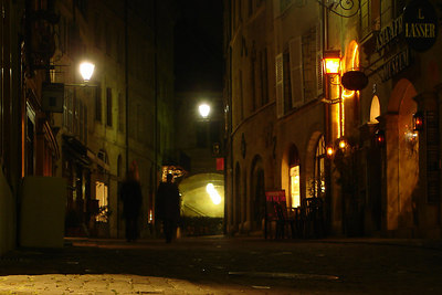 The streets of Old Geneva at night - Geneva, Switzerland ... March 4, 2007 ... Photo by Rob Page III