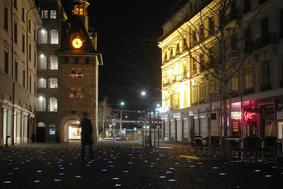 The plaza was lit up with little sayings in all the major languages.  It looked pretty cool - Geneva, Switzerland ... March 4, 2007 ... Photo by Rob Page III