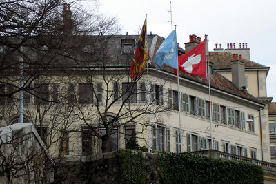 The flags of Geneva, the UN, and Switzerland - Geneva, Switzerland ... March 2, 2007 ... Photo by Emily Conger