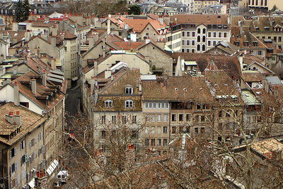 The old town spreads out below Cathedral de St Pierre - Geneva, Switzerland ... March 2, 2007 ... Photo by Rob Page III