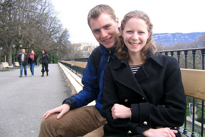 Rob and Emily sitting on the world's longest bench - Geneva, Switzerland ... March 2, 2007 ... Photo by Michael Ruprecht