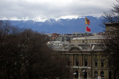 Geneva with the mountains in the background - Geneva, Switzerland ... March 2, 2007 ... Photo by Rob Page III