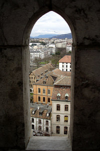 Looking out at the city of Geneva from the Cathedral de St Pierre - Geneva, Switzerland ... March 2, 2007 ... Photo by Emily Conger