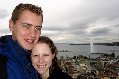 Rob and Emily in Geneva with the Jet D'Eau in the backgorund - Geneva, Switzerland ... March 2, 2007 ... Photo by Michael Ruprecht