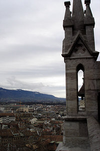 Looking out from the Cathedral de St Pierre - Geneva, Switzerland ... March 2, 2007 ... Photo by Emily Conger