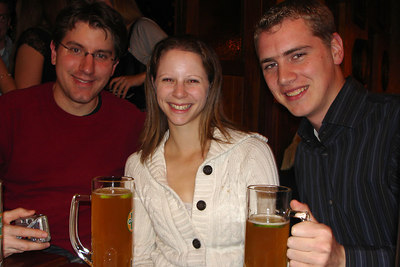 Bryan, Emily, and Rob at Les Brasseurs - Geneva, Switzerland ... March 1, 2007 ... Photo by Michael Ruprecht